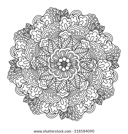 Round element for coloring book. Black and white floral pattern. Vector illustration. - stock vector
