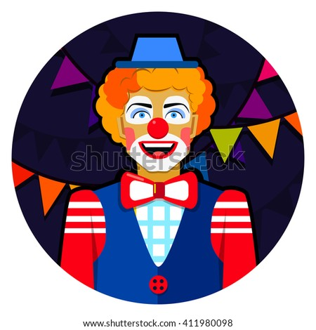 Round emblem smiling funny clown with hat and colorful ribbons. - stock vector