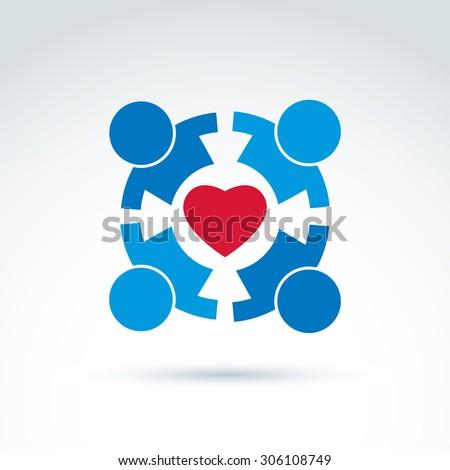 round family consultation symbol compassion love stock vector