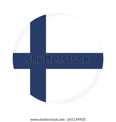 Round finland flag vector icon isolated, finland flag button - stock vector