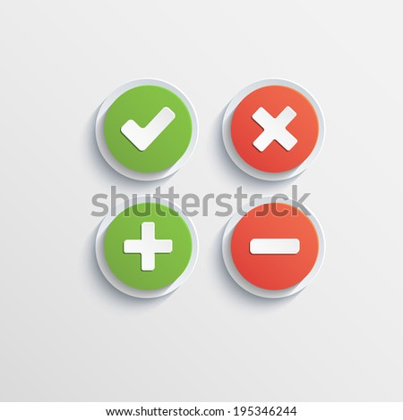 Round flat buttons of validation icons with shadow - stock vector
