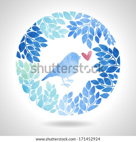 Round floral frame with bird - stock vector