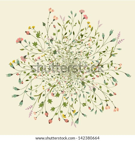 Round floral pattern - stock vector