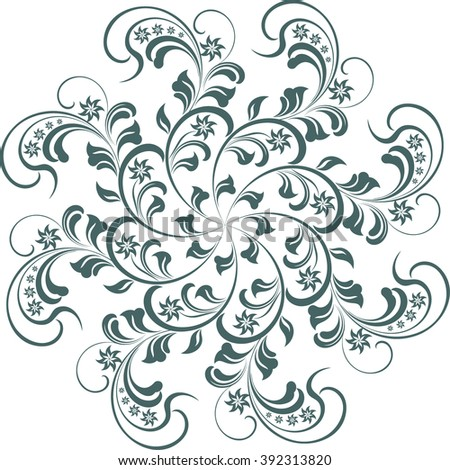 round floral pattern, decor element for greeting card