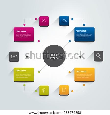 Round flow chart infographics scheme. Vector. - stock vector