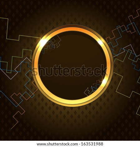Round frame and electronic wires - stock vector