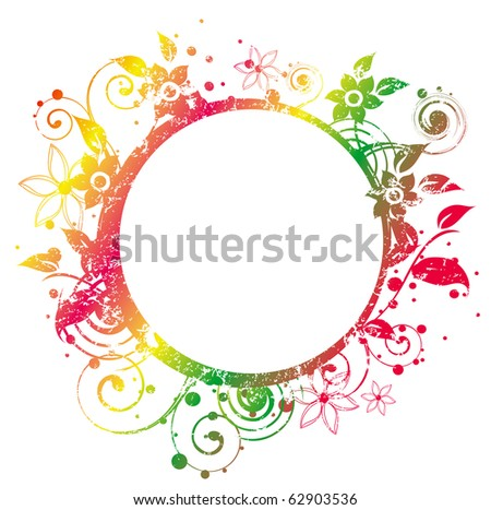 Round Frame decorated with grunge texture and floral elements - stock vector