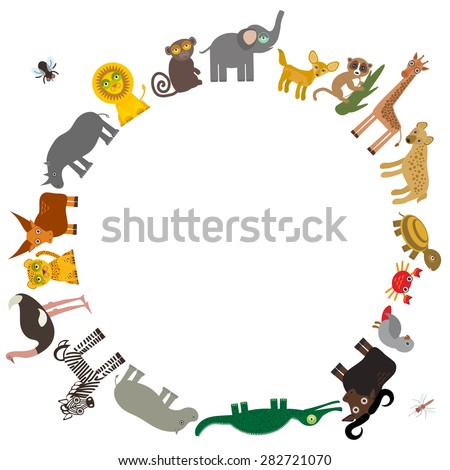 Round frame for text  Animal Africa: parrot Hyena Rhinoceros Zebra Hippopotamus Crocodile Turtle Elephant snake camel mosquito tsetse ostrich lemur Monkey Fennec Leo Leopard Giraffe buffalo. Vector  - stock vector