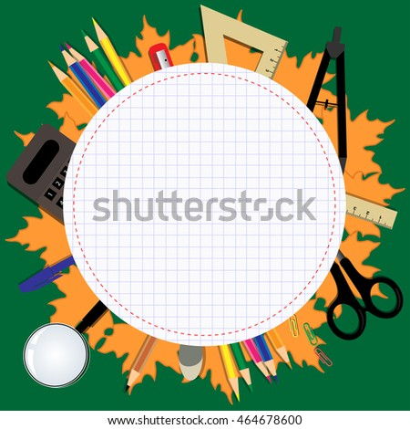 round frame in the form of a notebook with stationery elements for school