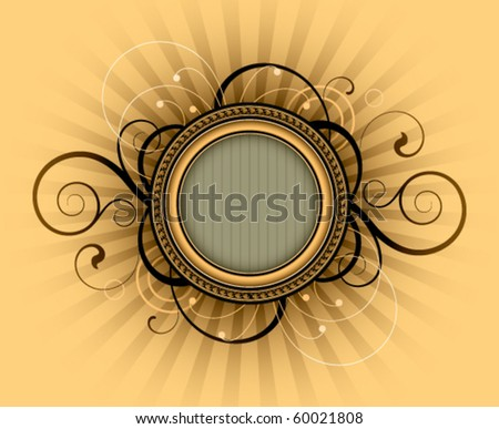 Round frame is decorated design elements - stock vector