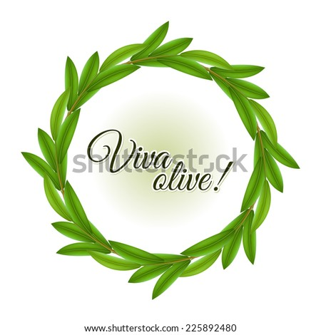 Round frame made of olive tree green leaves with copy space - stock vector