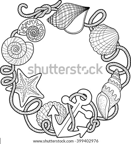 Round Frame Made Shells Coloring Pages Stock Vector 399402976 Seashell Coloring Pages