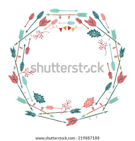 Round frame of arrows and leaves - stock vector