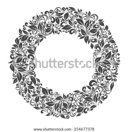 Round frame of patterns and leaves - stock vector