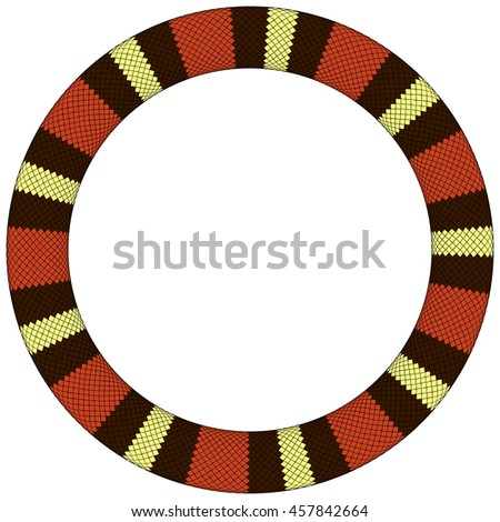 Round frame of snake skin border based on color pattern of species called Lampropeltis triangulum elapsoides.