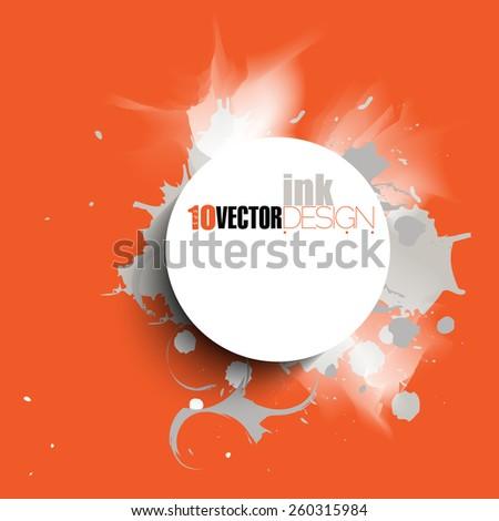 round frame on ink splatter background. eps10 vector - stock vector