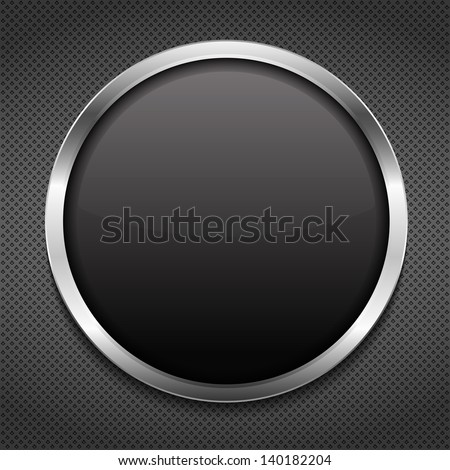 Round frame on metal background, vector eps10 illustration - stock vector