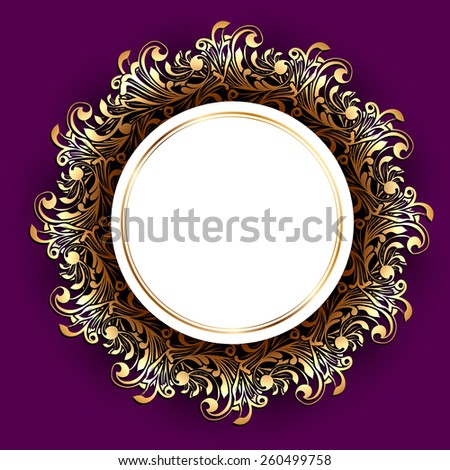 Round Frame Over Floral Decorative Background, Copyspace - stock vector