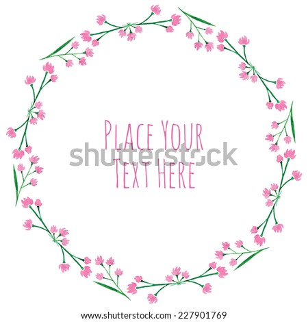 Round frame pink flower garland watercolor stock vector 227901769 round frame pink flower garland watercolor vector template mightylinksfo