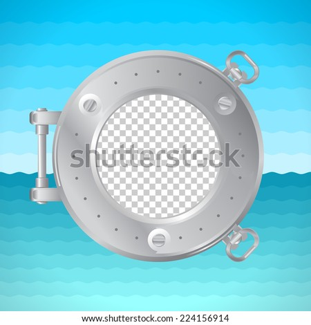 Round frame porthole with photo placeholder. Naval theme. - stock vector