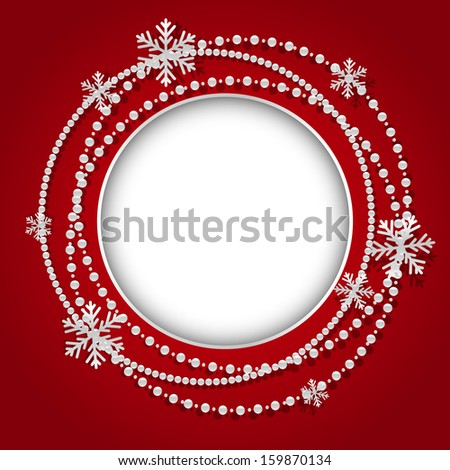 Round frame with Christmas white garland - stock vector