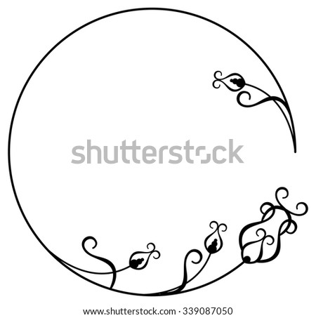 Round frame with floral ornament - stock vector