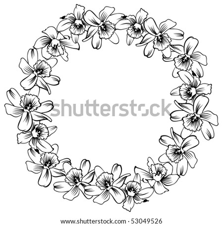 round frame with flowers - stock vector