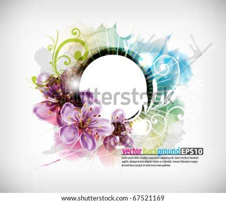 round frame with flowers and splats - stock vector