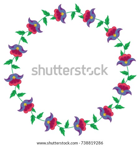 Round Frame With Flowers Design Element For Banners Labels Prints Posters