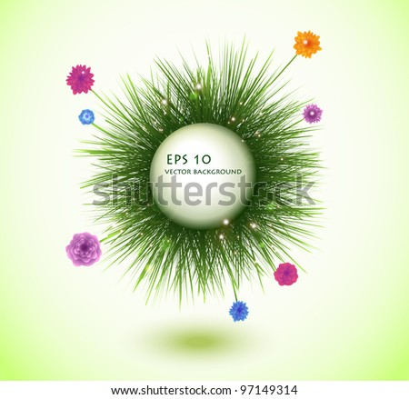 round frame with fresh spring grass - stock vector
