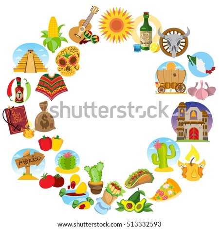 Round Frame Household Items Traditional Mexican Stock Vector ...