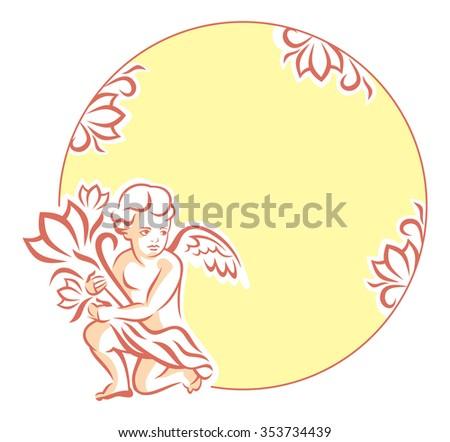 Round Frame Little Angel Stock Vector 353734439 - Shutterstock
