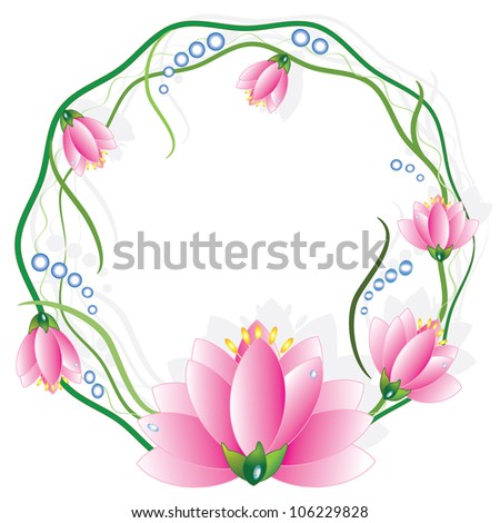 Round frame with lotuses, vector. - stock vector
