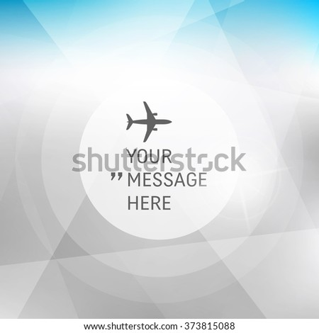 Round Frame with Place for Text. Abstract background with blue sky and clouds. Vector Frame with Airplane. Circle with Place for Text. Vector illustration.  - stock vector
