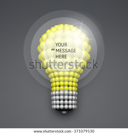 Round Frame with Place for Text. Lightbulb. Idea Concept. 3D Illustration for Marketing and Business Presentation. 3d Spheres Composition. Vector illustration for Science, Technology, Web Design.  - stock vector