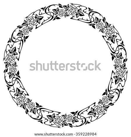 Round frame with roses - stock vector