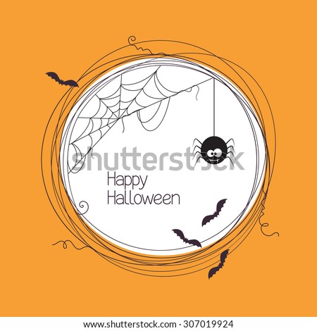 Round frame with spider, web and bats for your Halloween text - stock vector