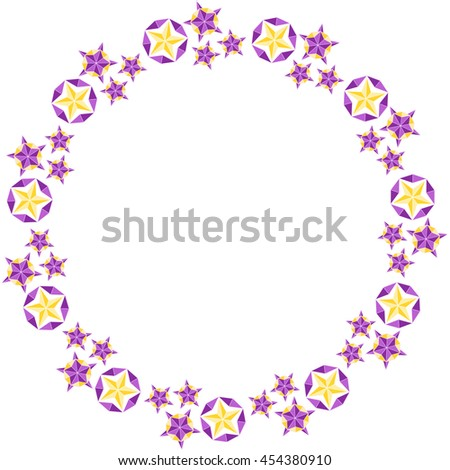 Round frame with stars and crystals. Vector.