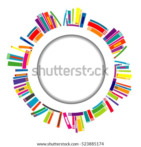 Round frame with stylized books