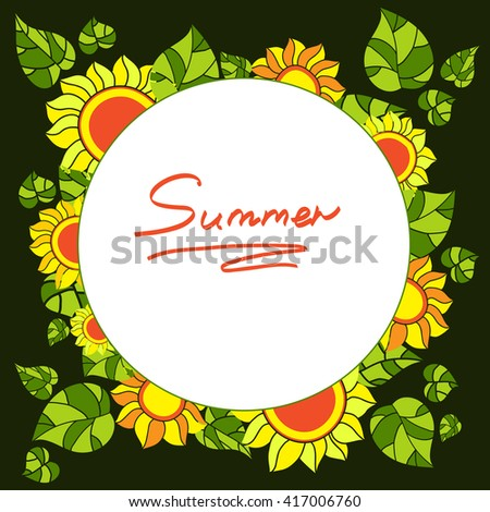 Round frame with sunflowers and green leaves on a dark background. Vector illustration  - stock vector