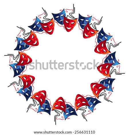 Round frame with theatre masks - stock vector