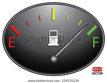 Round fuel gauge nearly full with silver indicator. Isolated easy to edit vector design on black background.