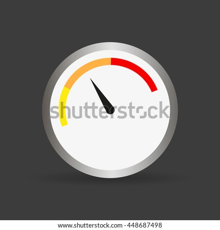 Round gauge with arrow and shadow. Vector illustration - stock vector
