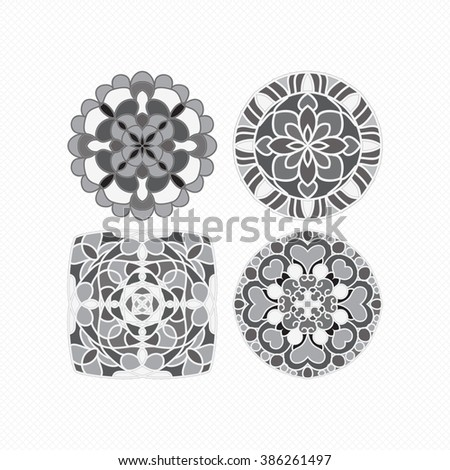 Round geometric ornaments set. Vector circular geometric ornament. Round pattern. Set of circular patterns. A set of monochrome mandalas