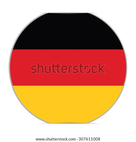 Round german flag vector icon isolated, german flag button. Vector illustration flag of germany sticker - stock vector