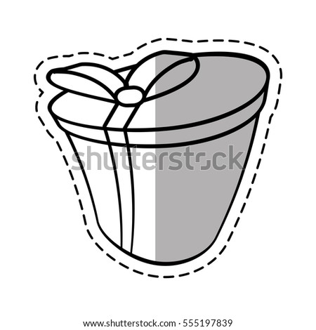 Round Gift Box Ribbon Festive Linea Stock Vector 555197839 ...