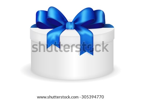 Round gift box with blue row. Christmas gift for men.  Vector illustration