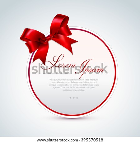 Round gift card with red satin bow. - stock vector