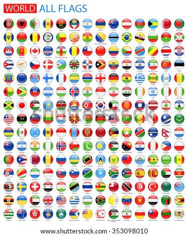 Round Glossy All World Vector Flags - Vector Collection - stock vector