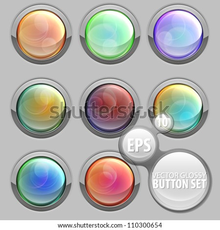 Round glossy button set eps10 vector in eight material texture variation - stock vector